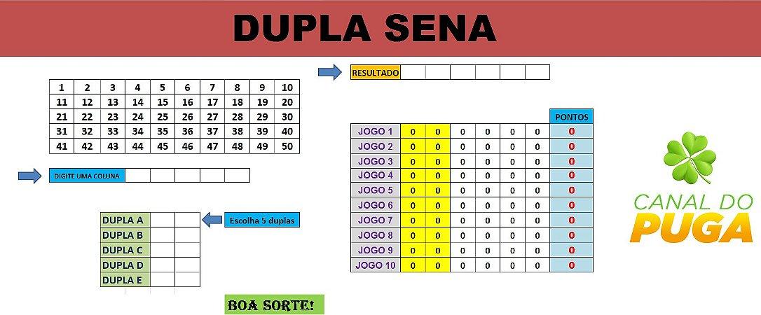 Planilha Dupla Sena - Combina Os Dígitos Finais