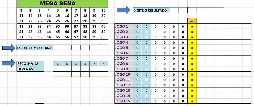Planilha Mega Sena - Jogue Com 18 Numeros