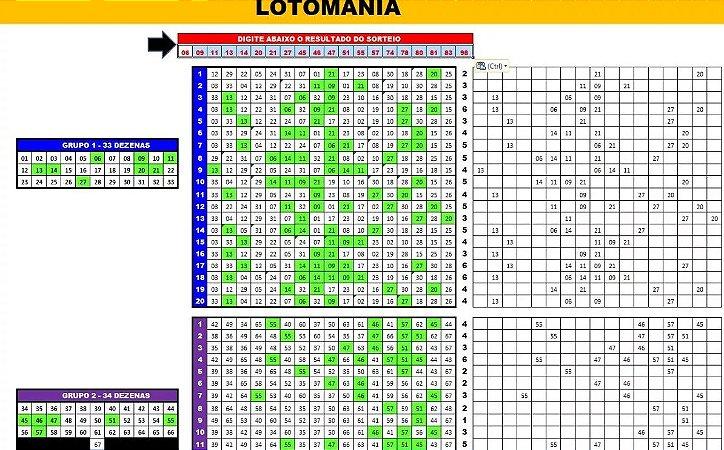 Planilha Lotomania - 100 Dezenas Com Redução Em 20 Jogos