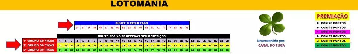 Planilha Lotomania - 90 Dezenas Com 3 Grupos De 30 Fixas