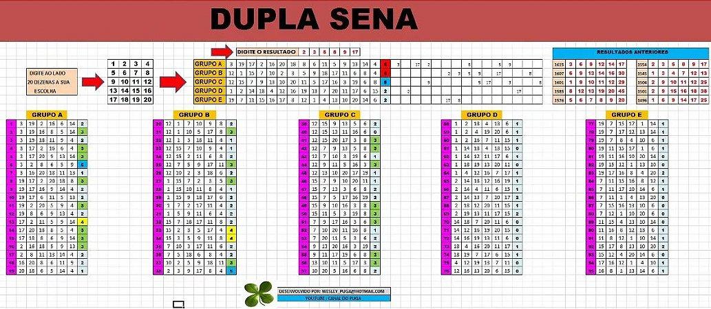 Planilha Dupla Sena - Redução Direta Com 20 Dezenas