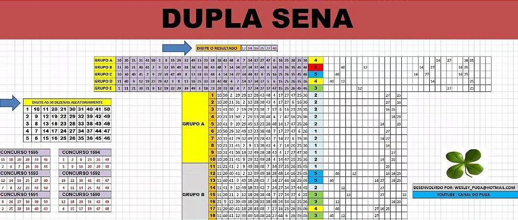 Planilha Dupla Sena - Redução De 50 Para 15 Dezenas
