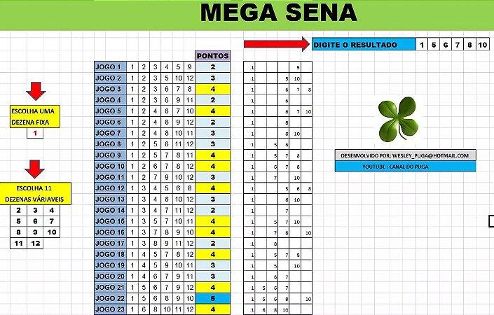Planilha Mega Sena - Esquema Com 1 Dezena Fixa