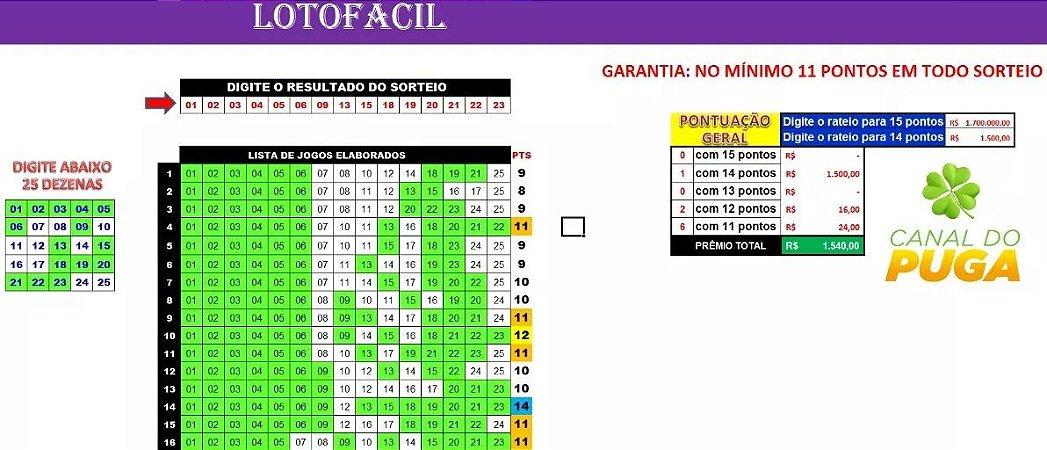 Planilha Lotofacil - Esquema Com 11 Pontos Em Todo Sorteio