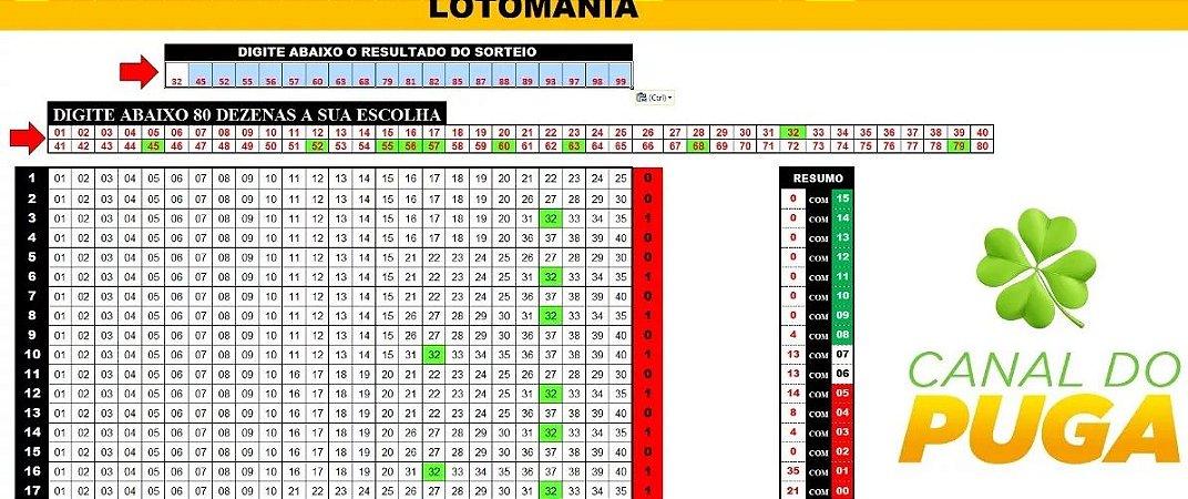 Planilha Lotomania - Esquema Para Errar 25 Dezenas