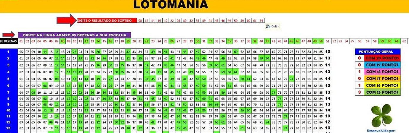 Planilha Lotomania - 85 Dezenas Combinadas Em 97 Jogos