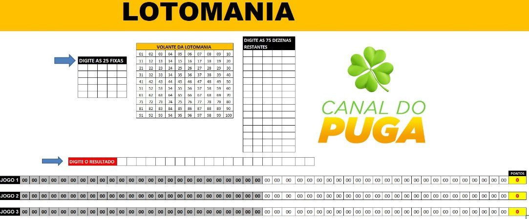Planilha Lotomania - 25 Fixas Em 3 Bilhetes