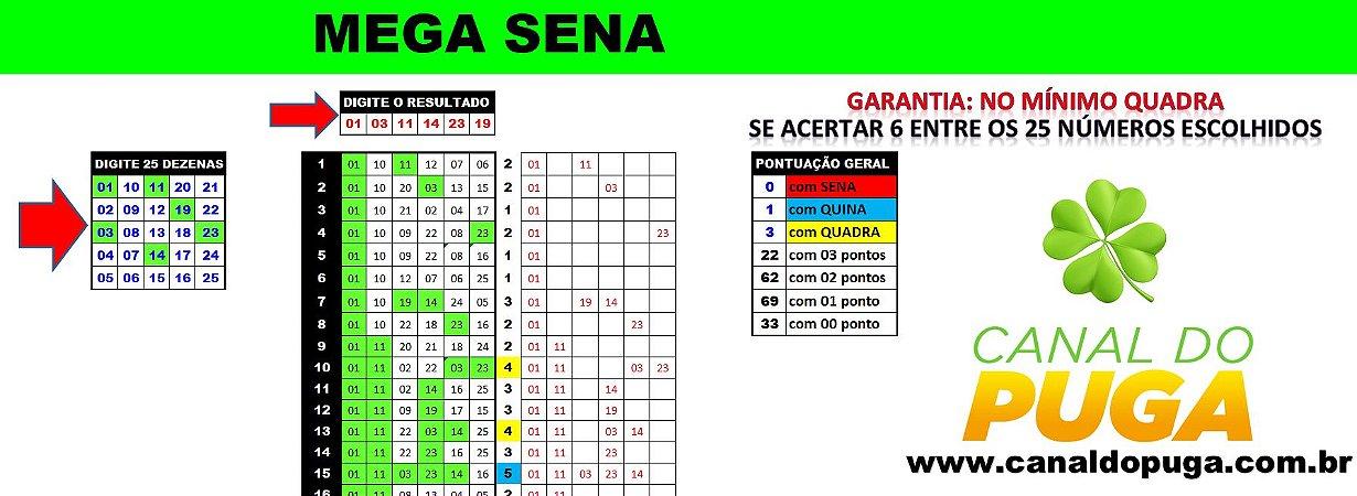 Planilha Mega Sena - Esquema 25 Dezenas com Garantia