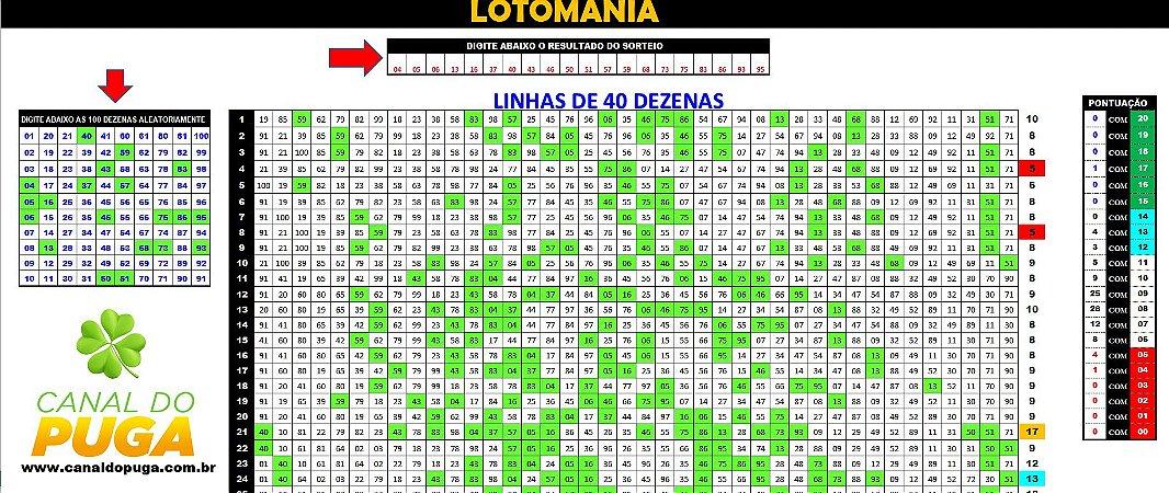 Planilha Lotomania - 100 Dezenas Combinadas em Grupos de 40