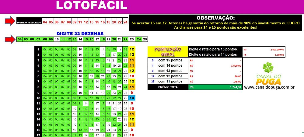 Planilha Lotofacil - Esquema com 22 Dezenas sem Fixas