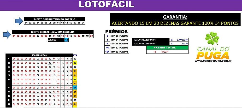 Planilha Lotofacil - Garante 100% 14 pontos em 20 Dezenas Sem Fixas