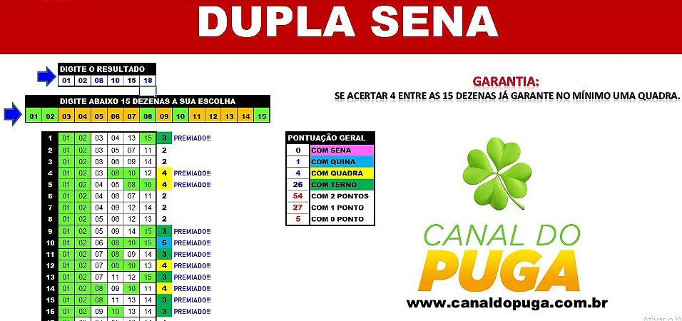 Planilha Dupla Sena - Fechamento de 15 Dezenas com Garantia