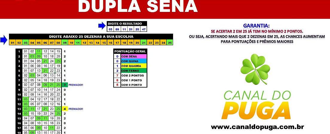 Planilha Dupla Sena - Fechamento Reduzido de 25 Dezenas