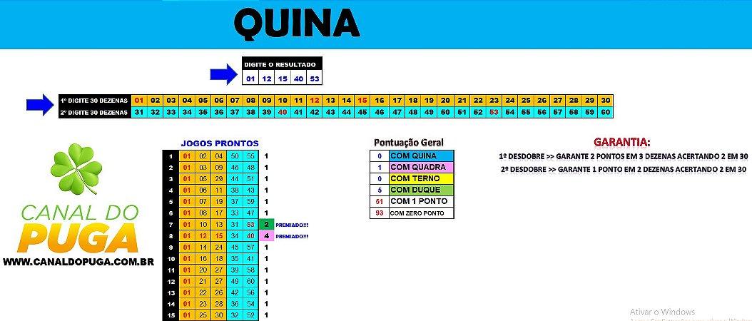 Planilha Quina - 60 Dezenas para Acertar 2 em 3