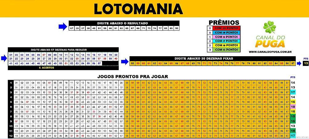 Planilha Lotomania - Esquema com 87 Dezenas em 12 Jogos