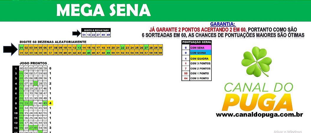 Planilha Mega Sena - 60 Dezenas com Fechamento Reduzido pra Ganhar