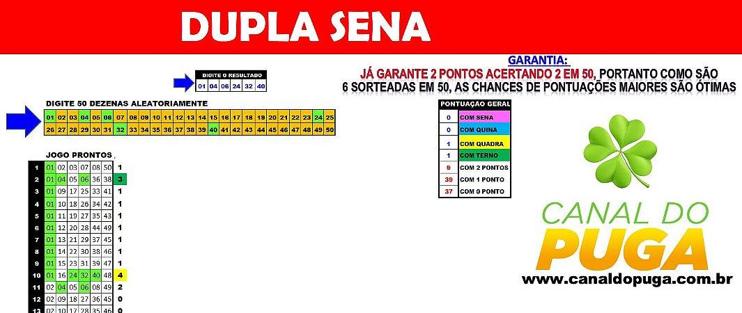 Planilha Dupla Sena - 50 Dezenas com Fechamento Reduzido pra Ganhar