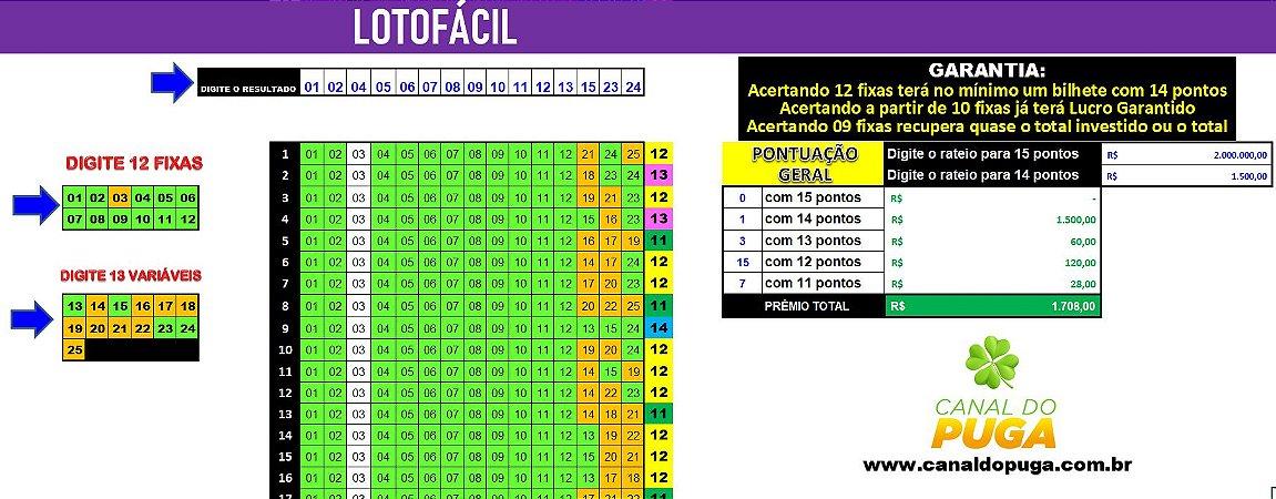Planilha Lotofacil - Esquema 12 Dezenas Fixas com Garantia de 14 Pontos