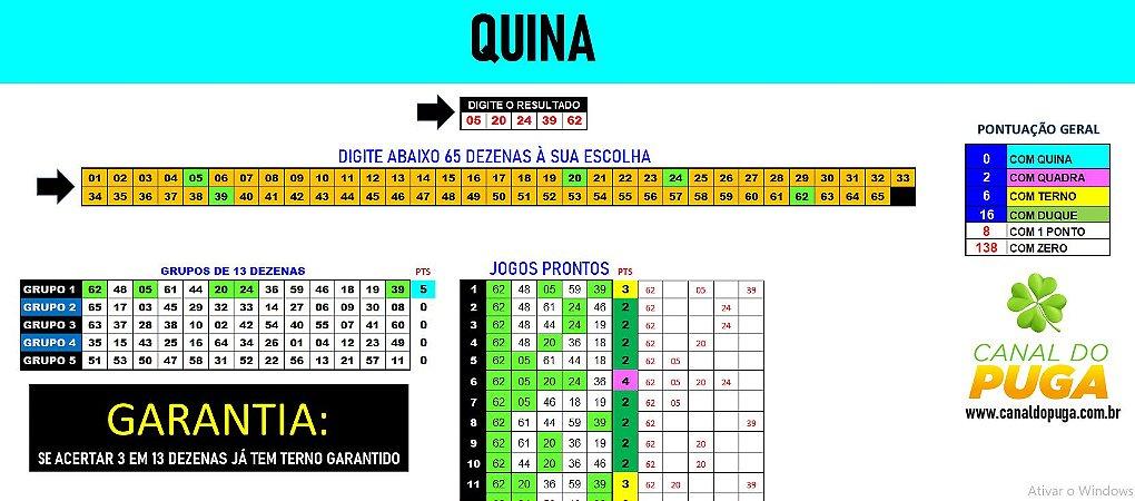 Planilha Quina - 65 Dezenas com Redução e Fechamento