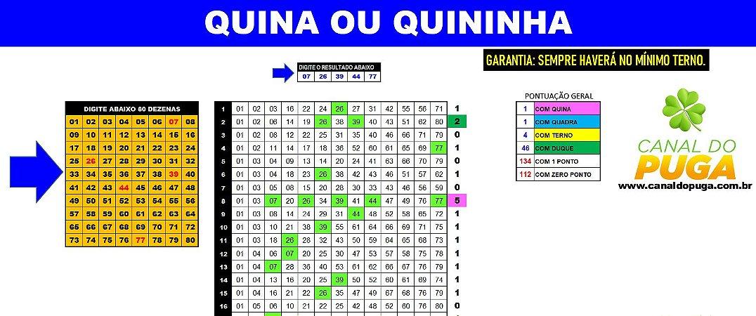 Planilha Quininha e Quina - Redução de 80 Dezenas para 13 com Garantia