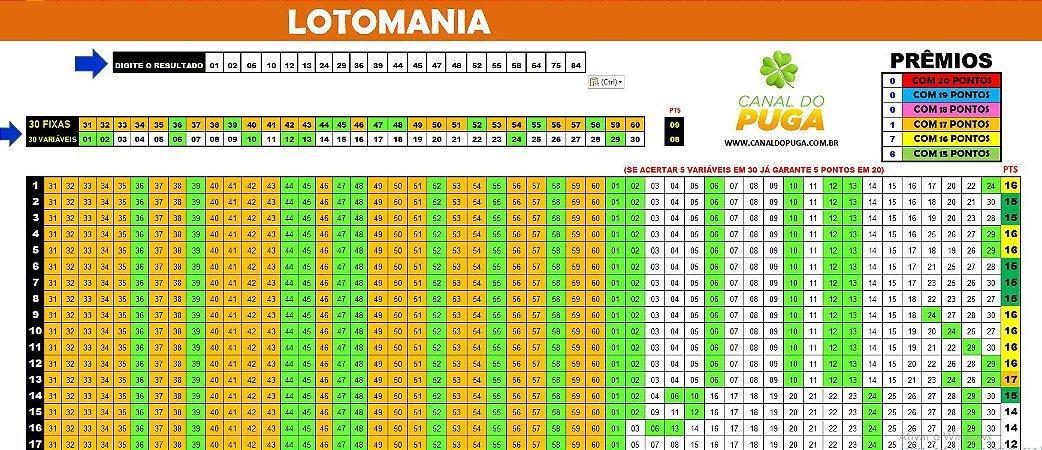 Planilha Lotomania - Esquema 30 por 30 em 26 Jogos