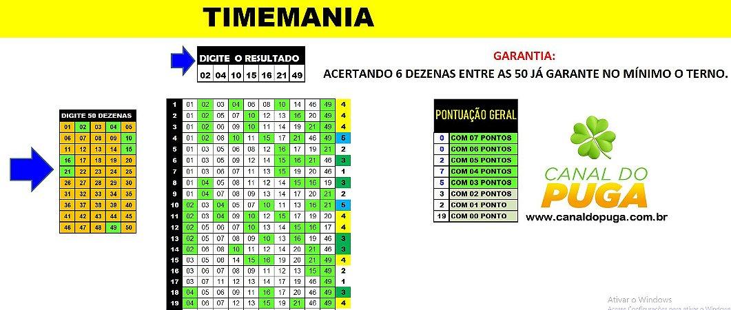 Planilha Timemania - Mini Fechamento 50 Dezenas em 38 Jogos com Garantia