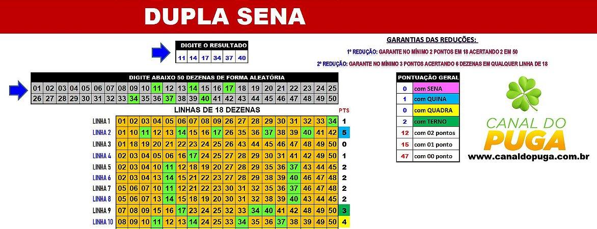 Planilha Dupla Sena - Jogue com 11 Grupos de 18 Dezenas