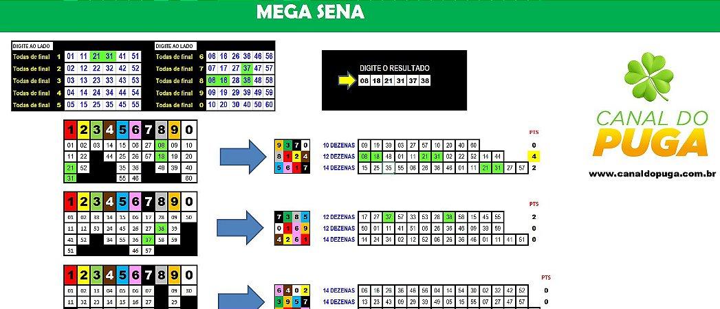 Planilha Mega Sena - Esquema de Redução em Cores