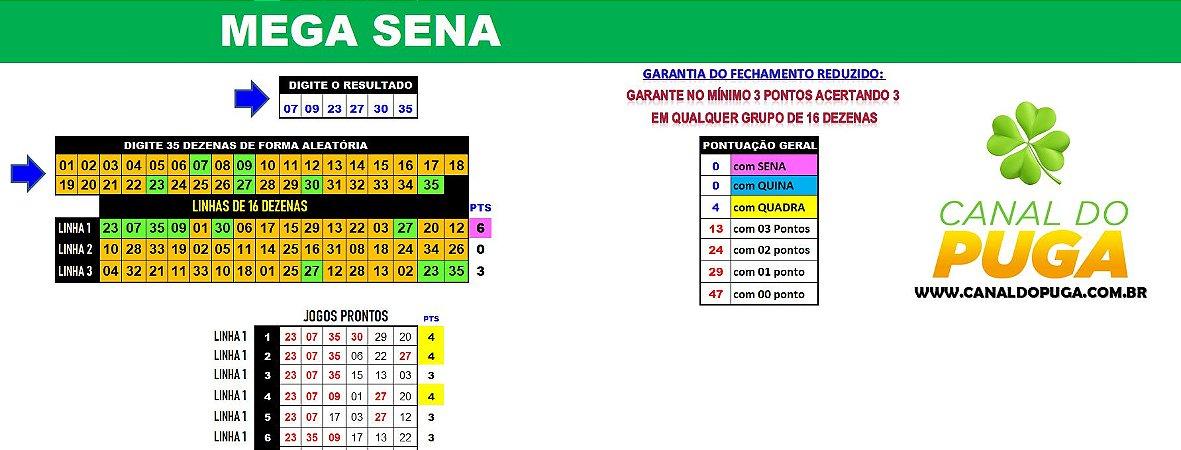 Planilha Mega Sena - 35 Dezenas com Redução e Garantia