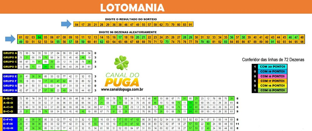 Planilha Lotomania - 96 Dezenas com Redução para 72