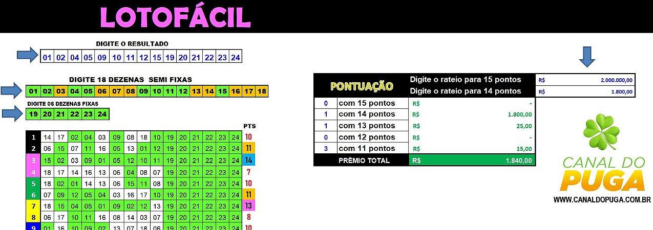 Planilha Lotofacil - Esquema com 24 Dezenas em 10 Jogos