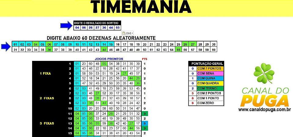 Planilha Timemania - Esquema com 60 Dezenas em 25 Jogos