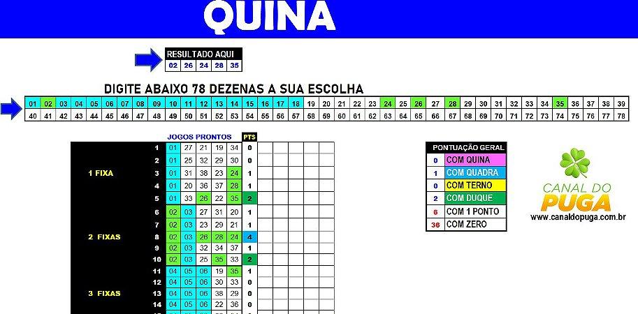 Planilha Quina - Esquema com 78 Dezenas em 45 Jogos