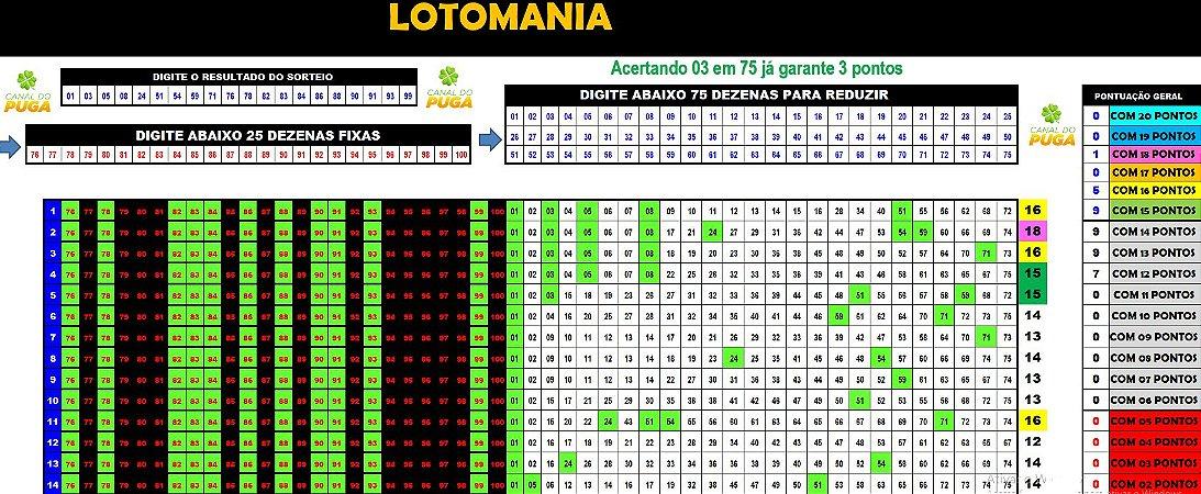 Planilha Lotomania - Esquema com 100 Dezenas em 40 Jogos