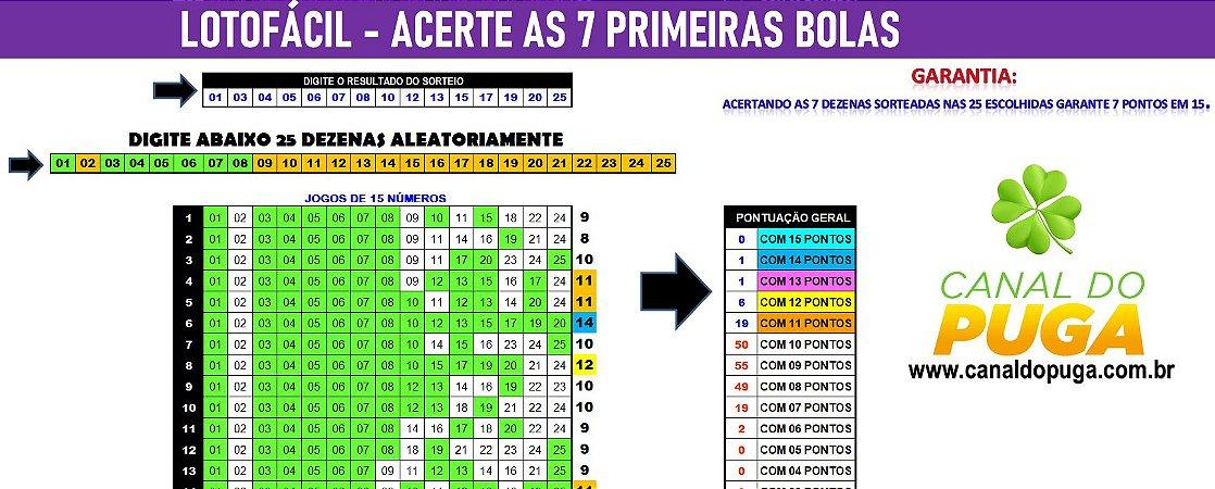 PLANILHA LOTOFACIL - COMO ACERTAR AS 7 PRIMEIRAS BOLAS