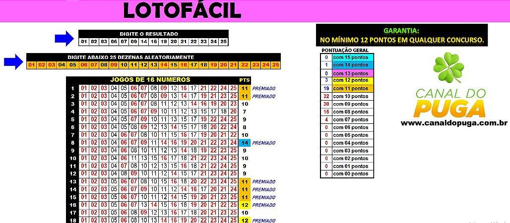 Planilha Lotofacil - Garante 12 Pontos em Todo Sorteio com Jogos de 16 Números