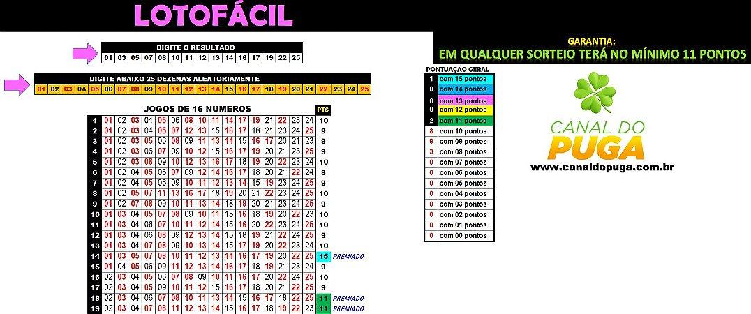 Planilha Lotofacil - Jogos de 16 Números com 11 Pontos Sempre