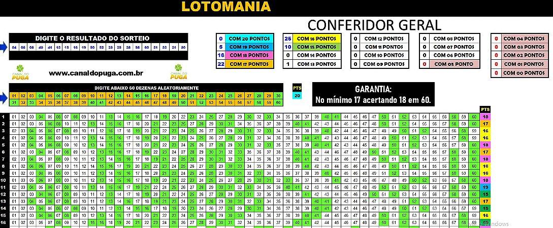 Planilha Lotomania - Esquema com 60 Dezenas pra Ganhar