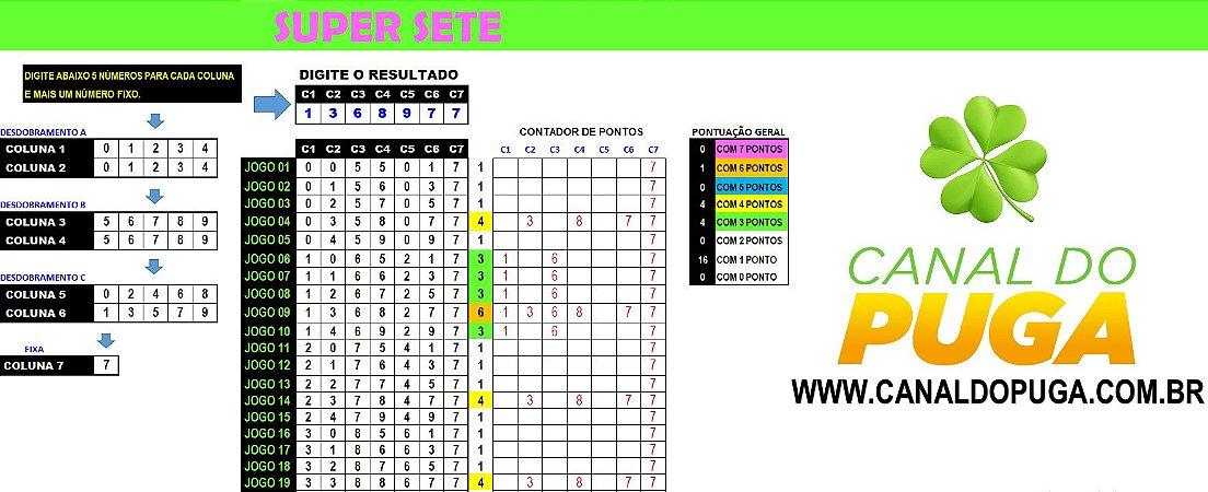 Planilha Super Sete - Esquema com 25 Jogos pra Ganhar