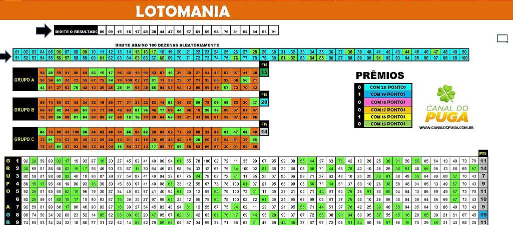 Planilha Lotomania - Jogue com 3 grupos de 75 Dezenas pra Ganhar