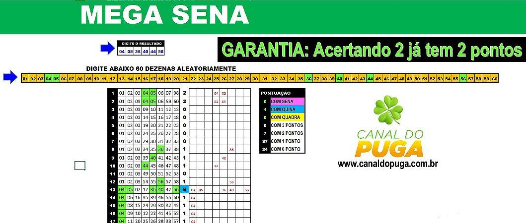 Planilha Mega Sena - 60 Dezenas Combinadas em Jogos de 8 Números