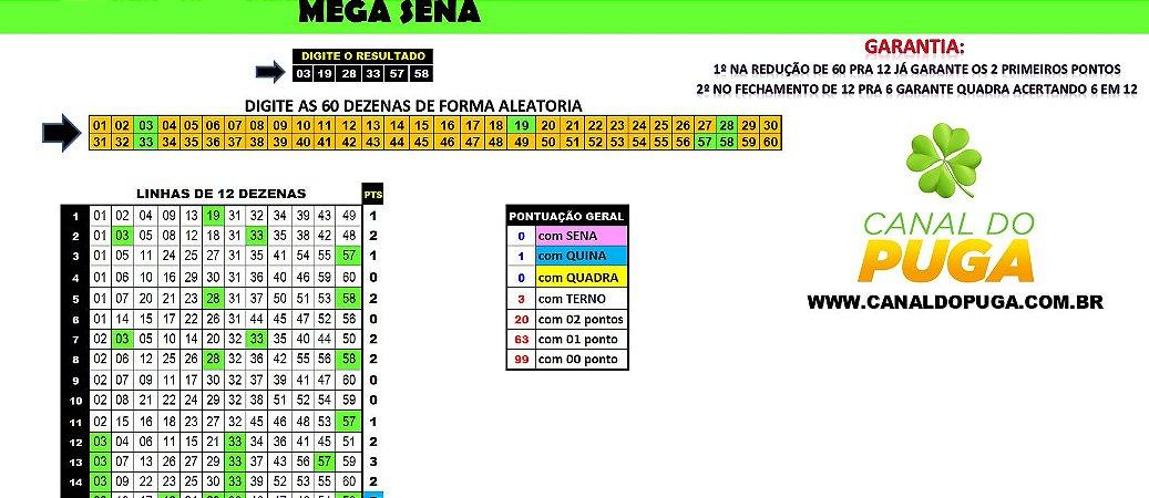 Planilha Mega Sena - Jogue com 31 Grupos de 12 Dezenas e Garantia