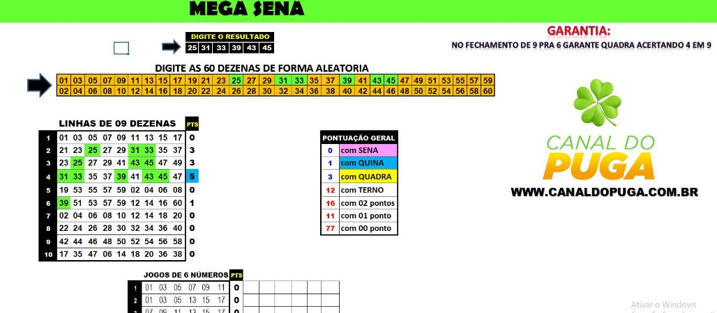 Planilha Mega Sena - Jogue com 10 Grupos de 9 Dezenas e Garantia