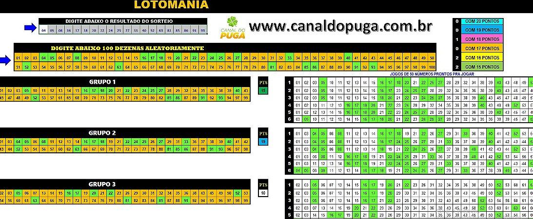 Planilha Lotomania - Jogue com 15 Grupos de 60 Dezenas