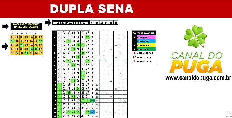 Planilha Dupla Sena - Esquema com 39 Jogos de 7 Numeros