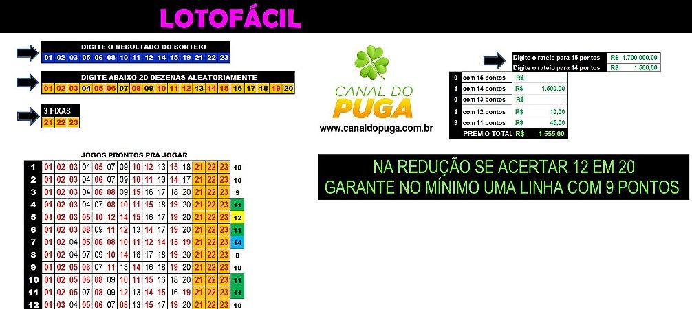 Planilha Lotofacil - Esquema com 23 Dezenas em 32 Jogos