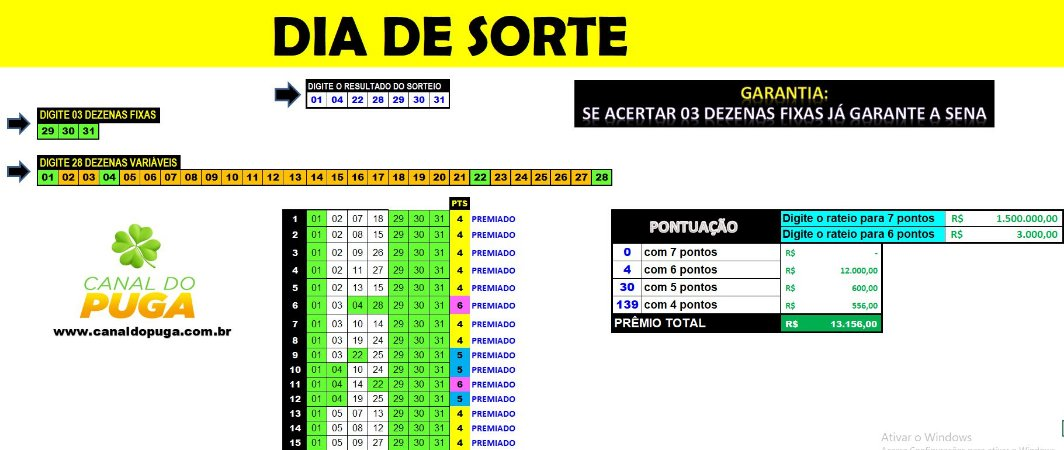 Planilha Dia de Sorte - Garante Sena Se Acertar 3 Dezenas