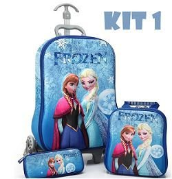 bc3778af89 Mochila De Rodinhas Frozen 3d - Kit Escolar - JR Comércio   Importados