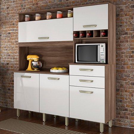 Armário de Cozinha Smart Cozinhas Nesher Nogal/Branco