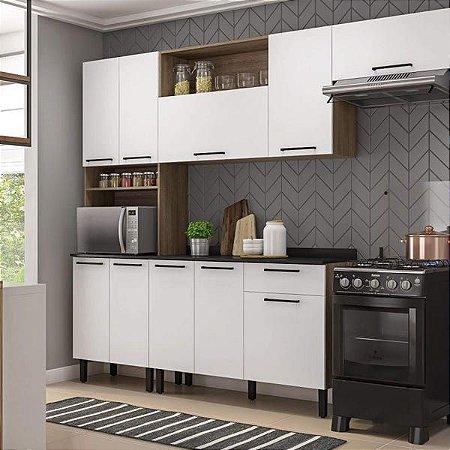 Cozinha Completa 10 Portas e Balcão com Tampo Acácia Cozinhas Itatiaia Castanho/Branco